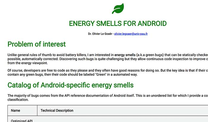 Energy Smells for Androïd