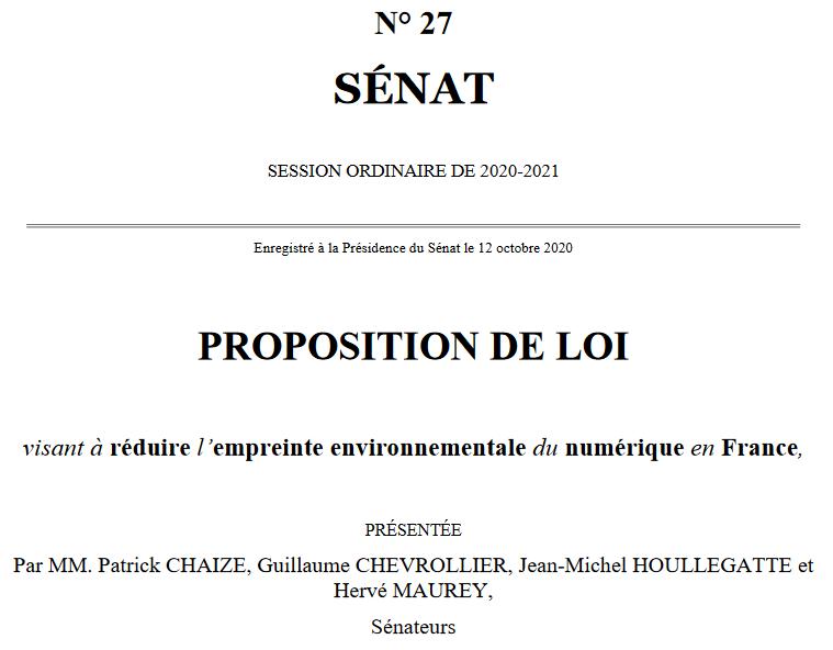 Proposition de loi sénat